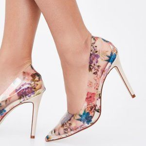 Classy Chic Clear Floral Pumps US 7.5